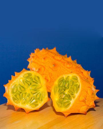 english cucumber: Sliced Horned Melon Stock Photo