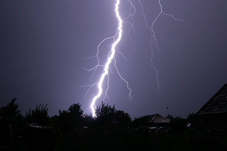 tempest: lightning in from sky to earth Stock Photo