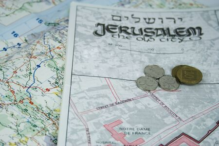jerusalem map and some coins Stock Photo - 9309408