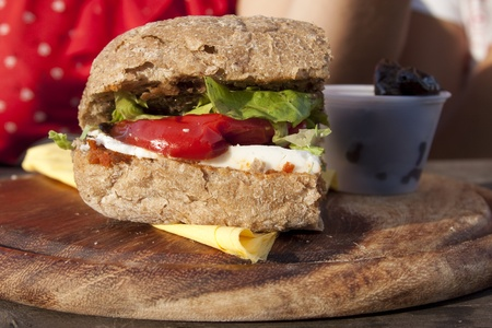 outdoor eating: healthy healthy sandwich outdoor eating Stock Photo