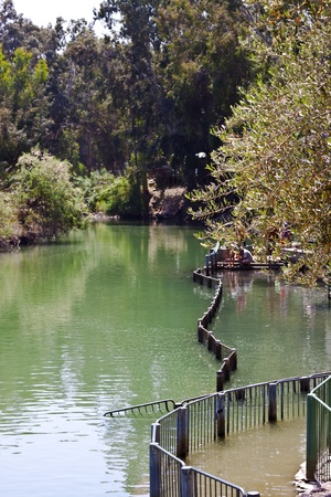 baptising place on the jordan river in israel photo