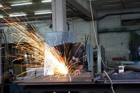 sparks during working with steel in the factory Stock Photo - 9313356