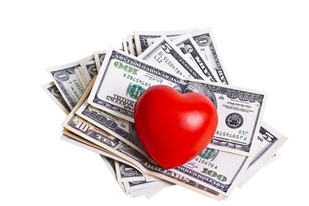 red heart and dollar bills isolated on white background Stock Photo - 9312986