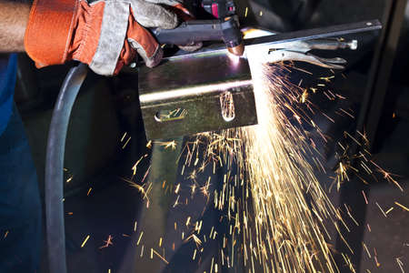 sparkes made while plasma cutting  steel plate Stock Photo - 9309806