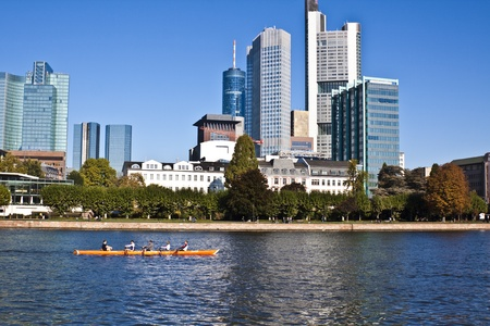 the city of frankfurt office buildings and the river Stock Photo - 9311093