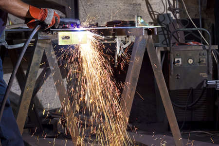 sparks during working with steel in the factory Stock Photo - 9312779