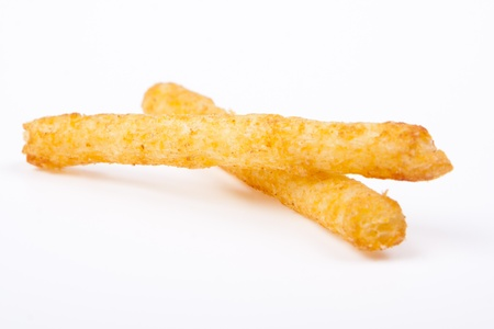 two spiced french fries on white background photo