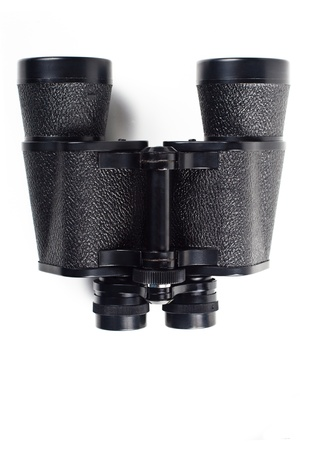 black binoculars isolated on white background photo