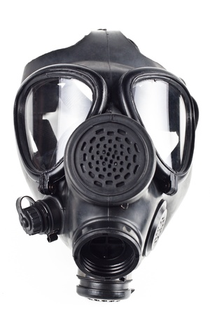 gas mask: black gas masck isolated on white background Stock Photo