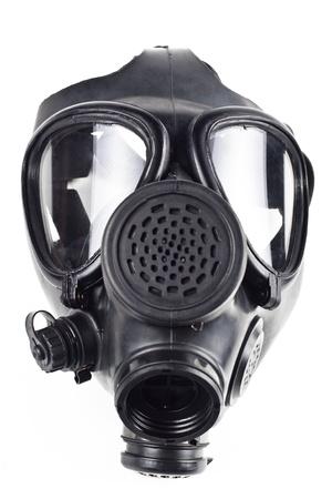 gasmasker: zwarte gas masck geïsoleerd op witte achtergrond