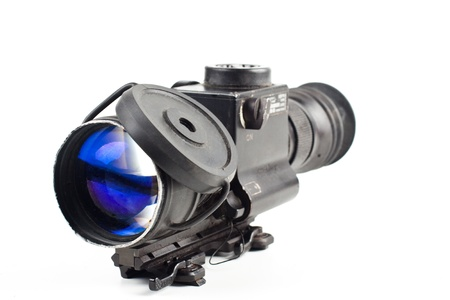 night vision sniper scope isolated on white background photo
