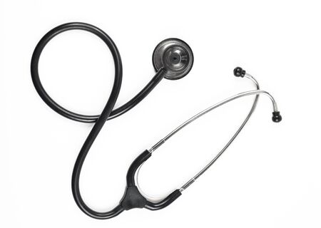 black stethoscope upper view isolated on white background Stock Photo - 11770654