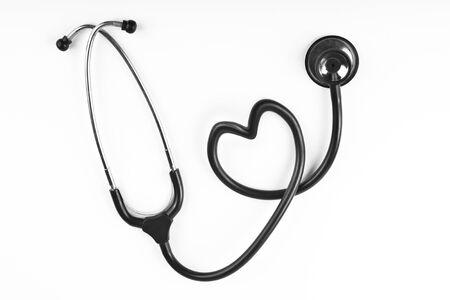 black stethoscop isolated on white background Stock Photo - 11965845