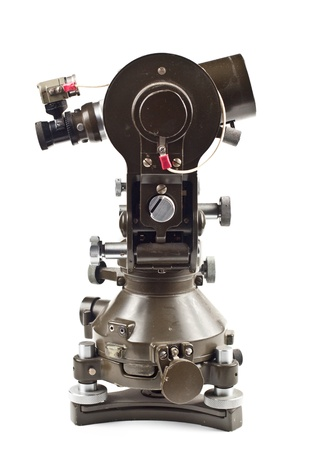 green old theodolite side view isolated on white backhground Stock Photo