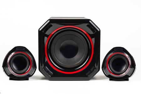 3D sound system build from 3 way speakers and a woofer all black with red circle isolated on white background photo