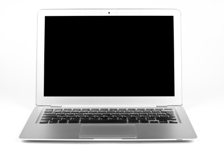 Thisn silver laptop open with black blanc screen isolated on white background photo