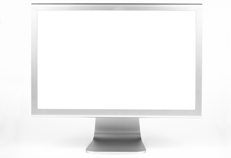 flat display panel: Silver computer monitor front view wth white screen isolated on white Stock Photo