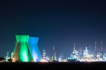 Oil refinery colored lights at night