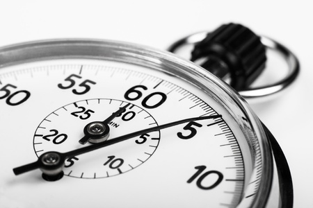 the timer: silver stopwatch closeup 5 sec isolated on white
