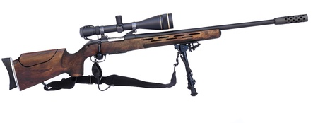 sight: Sniper Rifle with scope atached on a tripod isolated on white background