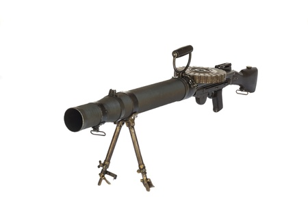 Old WW2 heavy machine gun front view isolated on white Stock Photo - 14393597