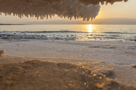 Salt Crystals formations all around on dead sea sunrise background Stock Photo - 15075966