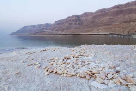 Stones made of salt on the dead sea shore with mountains in the backgrouns Stock Photo - 15075970