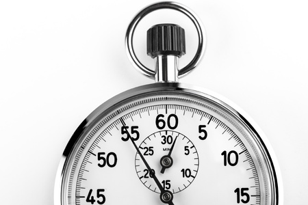 silver stopwatch timer crop isolated on white background