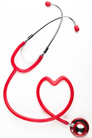 Single red stethoscope heart shaped  isolated on white background Stock Photo