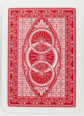 kartenspiel: Spielkarte zur�ck roten abstrakten Blumenmuster closeup