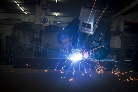 Welder working in a steel construction fatory Stock Photo - 17312791