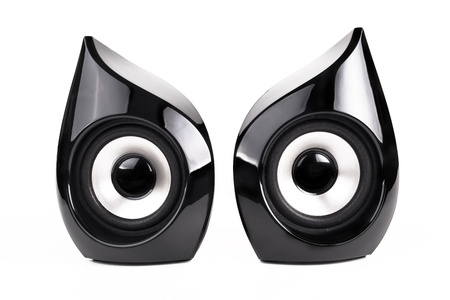 Pair of  Black speakers   isolated on white background photo