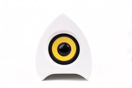 Single White speaker with black and yellow isolated on white background photo