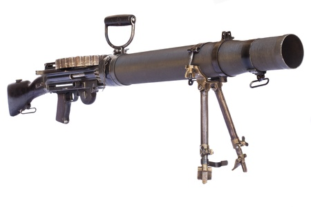 old black color machine gun on a tripod isolated on white background Stock Photo - 18247360