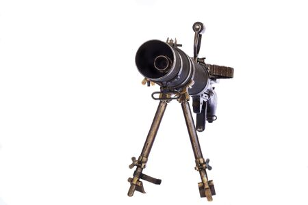 old black color machine gun on a tripod front view isolated on white background Stock Photo - 18247358