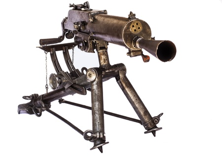 old black color machine gun on a tripod front view isolated on white background Stock Photo