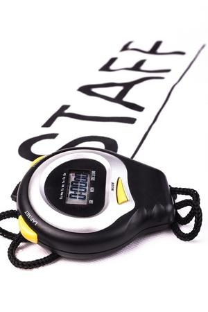 Cronómetro digital Negro sobre fondo blanco con la escritura personal