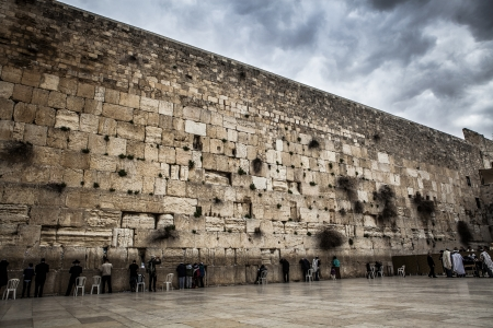 the western wall: Pepople pray at the Temple western wall