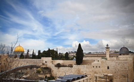 Jerusalem old city golden mosque above the wailing wall photo