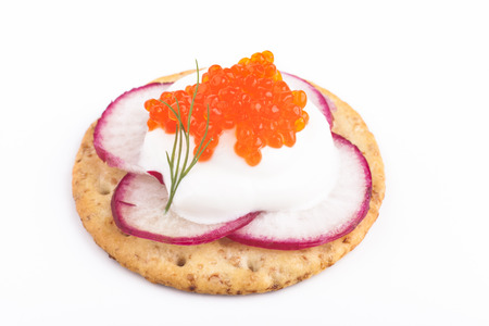 chees: Red caviar on white chees  apetiser on white background
