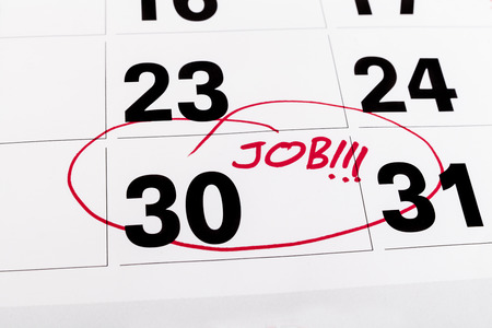 fining: Calendar with marked with red on the 30-th for job fining deadline