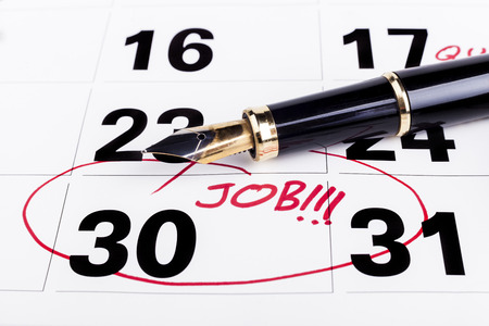 fining: Calendar with marked with red founain pen on the 30-th for job fining deadline Stock Photo