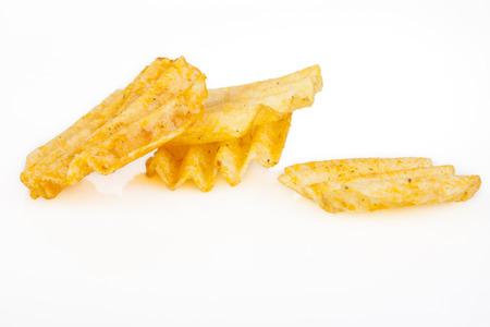 Four potato cips with reflection isolated on white background photo