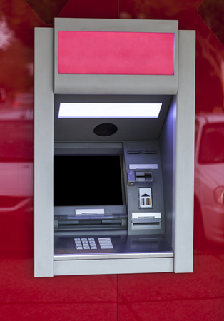 cashpoint: Red enplty atm with black  blank monitor and red bezel