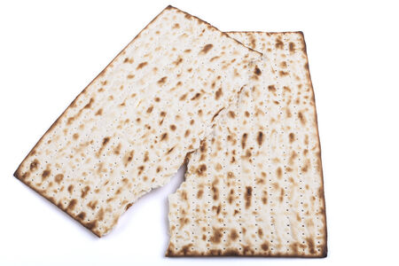 seider: Broken  Jewish traditional Pesach textured Matza bread substitute isolated on white background