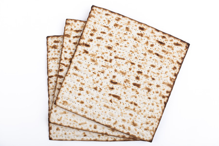 Jewish traditional Pesach textured Matza bread substitute isolated on white background