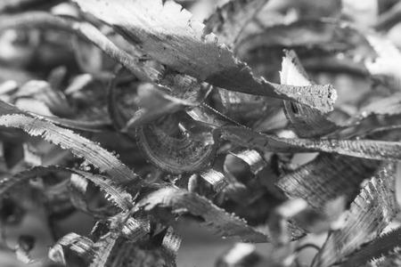 Silver color metal shavings macro close-up photo
