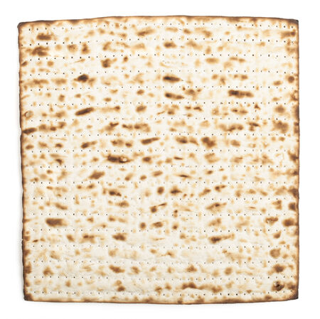 seider: Pesach jewish traditional textured Matza bread substitute isolated on white background