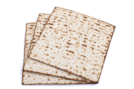 seider: Jewish traditional Pesach textured Matza bread substitute isolated on white background