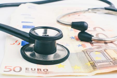 Euro banknote pile with Black stethoscope inked style image photo